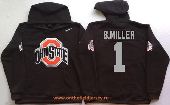 Men's Ohio State Buckeyes #1 Braxton Miller Nike Black Stitched NCAA College Football Hoodie