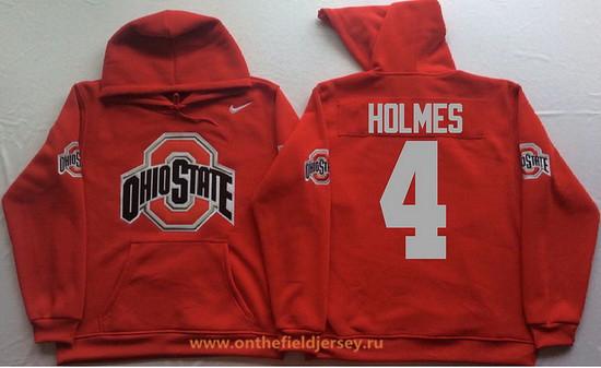 Men's Ohio State Buckeyes #4 Santonio Holmes Nike Red Stitched NCAA College Football Hoodie