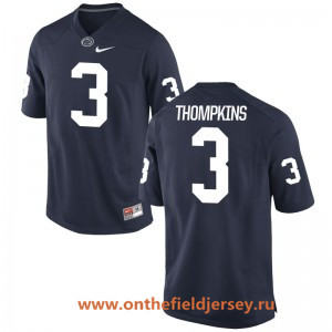 Men's Penn State Nittany Lions #3 DeAndre Thompkins Navy Blue College Football Stitched Nike NCAA Jersey