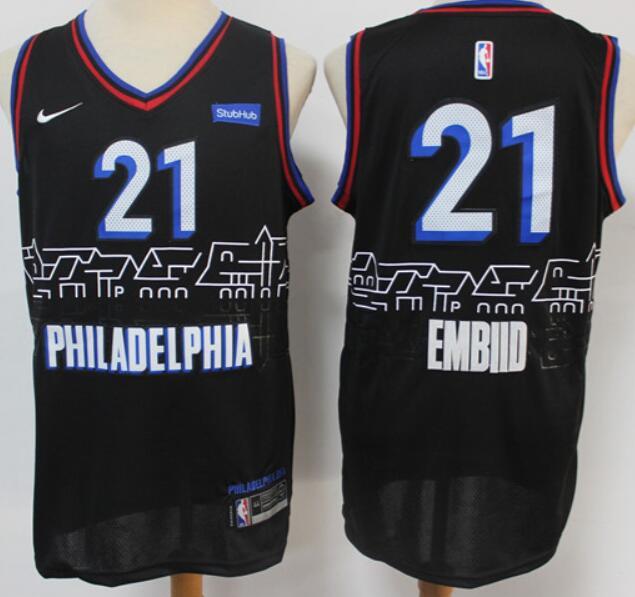 Men's Philadelphia 76ers #21 Joel Embiid NEW Black Nike 2021 Swingman City Edition Jersey