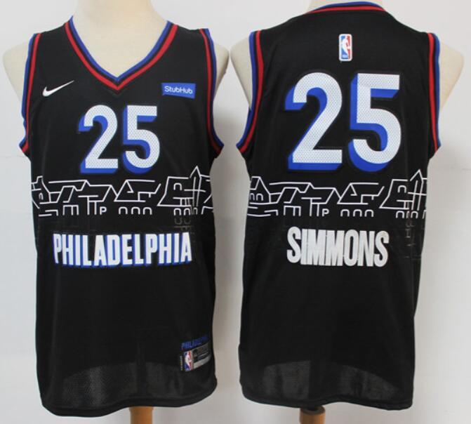 Men's Philadelphia 76ers #25 Ben Simmons NEW Black Nike 2021 Swingman City Edition Jersey
