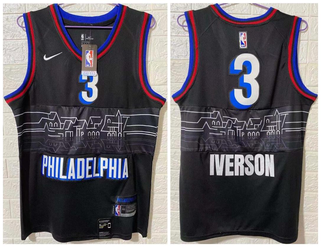 Men's Philadelphia 76ers #3 Allen Iverson NEW Black Nike 2021 Swingman City Edition Jersey