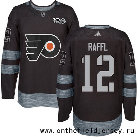 Men's Philadelphia Flyers #12 Michael Raffl Black 100th Anniversary Stitched NHL 2017 adidas Hockey Jersey