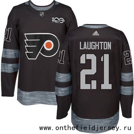 Men's Philadelphia Flyers #21 Scott Laughton Black 100th Anniversary Stitched NHL 2017 adidas Hockey Jersey