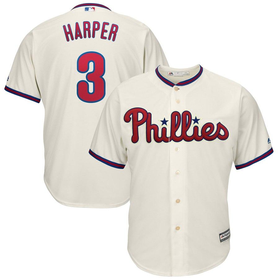 Men's Philadelphia Phillies #3 Bryce Harper Majestic Cream Alternate Official Cool Base Player Jersey