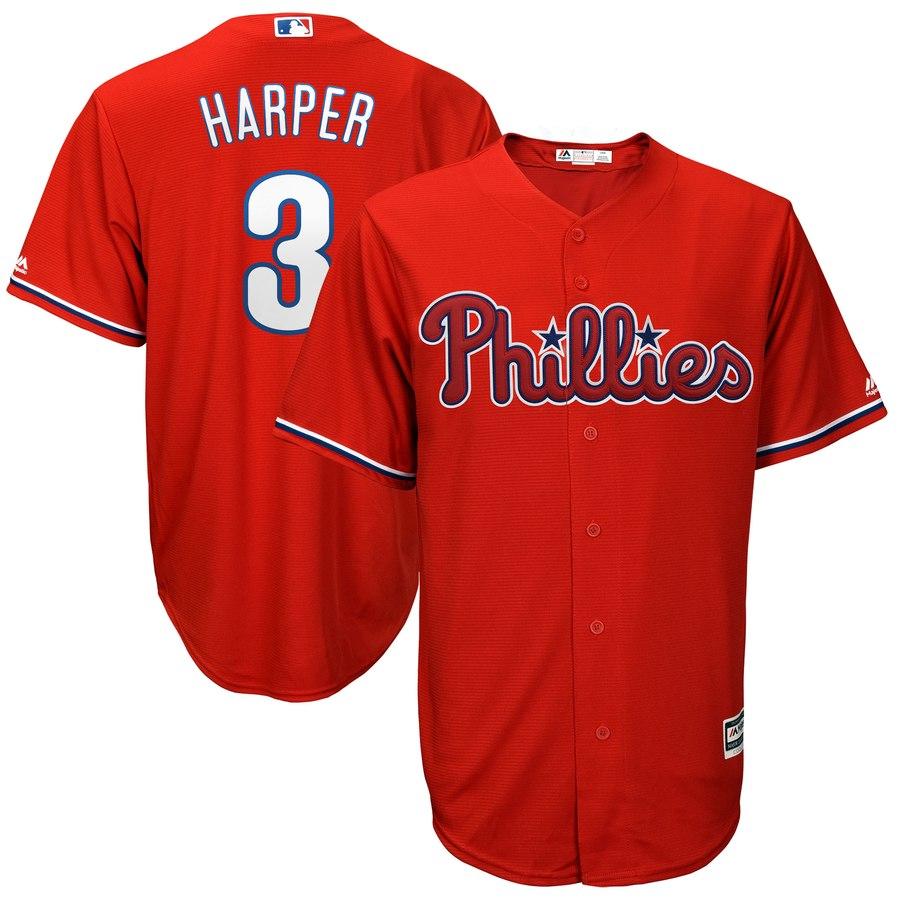 Men's Philadelphia Phillies #3 Bryce Harper Majestic Scarlet Official Cool Base Player Jersey