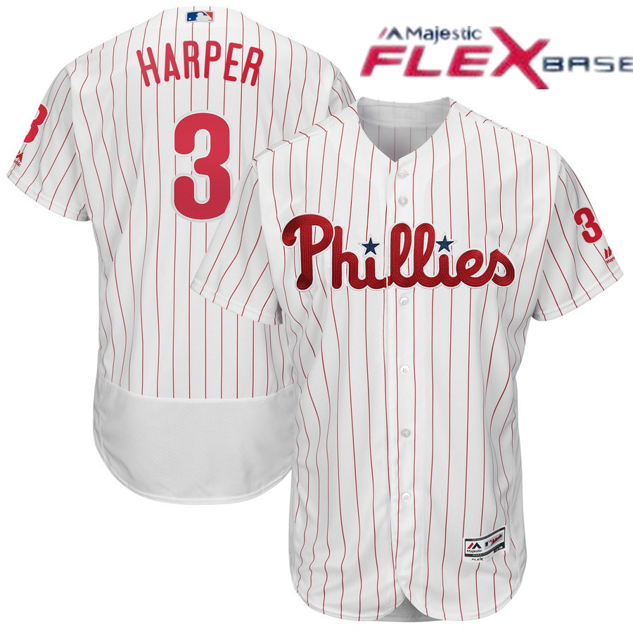 Men's Philadelphia Phillies #3 Bryce Harper Majestic White Home Flexbase Authentic Collection Player Jersey