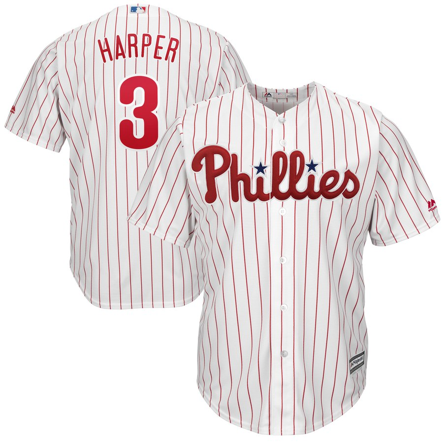 Men's Philadelphia Phillies #3 Bryce Harper Majestic White Home Official Cool Base Player Jersey