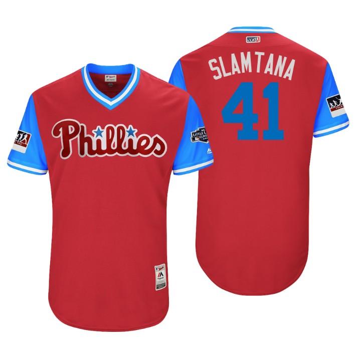 Men's Philadelphia Phillies Little League Classic Patch Carlos Santana #41 Scarlet 2018 LLWS Players Weekend Slamtana Jersey