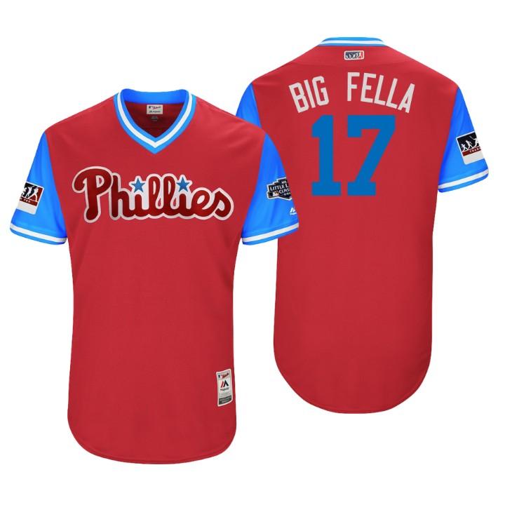 Men's Philadelphia Phillies Little League Classic Patch Rhys Hoskins #17 Scarlet 2018 LLWS Players Weekend Big Fella Jersey