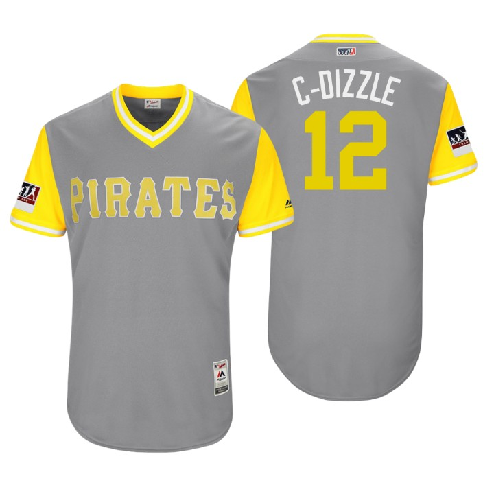 Men's Pittsburgh Pirates Authentic Corey Dickerson #12 Gray 2018 LLWS Players Weekend C-Dizzle Jersey