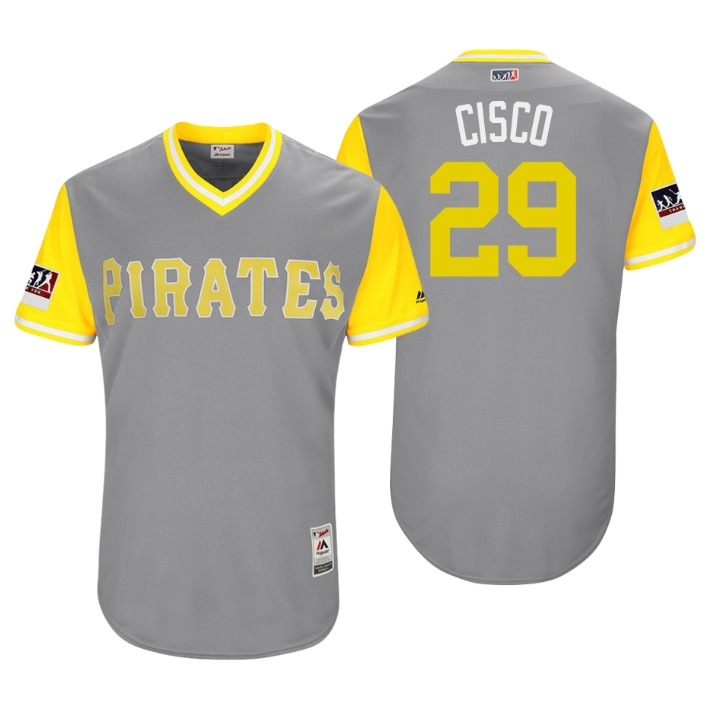 Men's Pittsburgh Pirates Authentic Francisco Cervelli #29 Gray 2018 LLWS Players Weekend Cisco Jersey