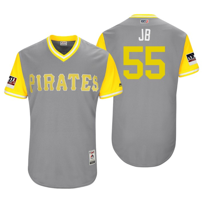 Men's Pittsburgh Pirates Authentic Josh Bell #55 Gray 2018 LLWS Players Weekend JB Jersey