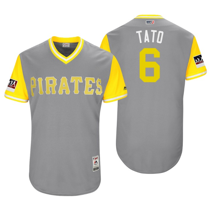 Men's Pittsburgh Pirates Authentic Starling Marte #6 Gray 2018 LLWS Players Weekend Tato Jersey