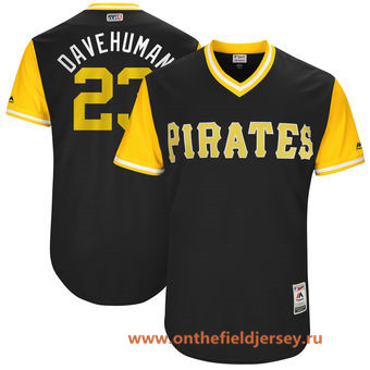 Men's Pittsburgh Pirates David Freese -Davehuman- Majestic Black 2017 Little League World Series Players Weekend Stitched Nickname Jersey