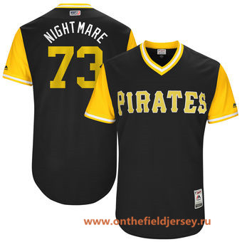 Men's Pittsburgh Pirates Felipe Rivero -Nightmare- Majestic Black 2017 Little League World Series Players Weekend Stitched Nickname Jersey