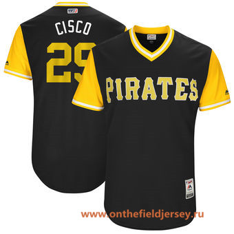 Men's Pittsburgh Pirates Francisco Cervelli -Cisco- Majestic Black 2017 Little League World Series Players Weekend Stitched Nickname Jersey