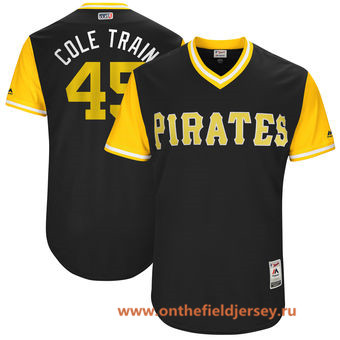 Men's Pittsburgh Pirates Gerrit Cole -Cole Train- Majestic Black 2017 Little League World Series Players Weekend Stitched Nickname Jersey