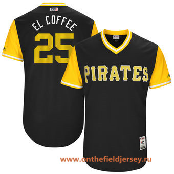 Men's Pittsburgh Pirates Gregory Polanco -El Coffee- Majestic Black 2017 Little League World Series Players Weekend Stitched Nickname Jersey