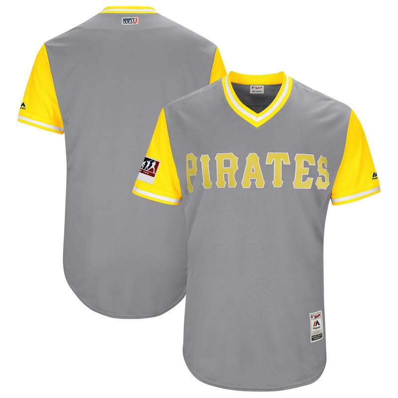 Men's Pittsburgh Pirates Majestic Gray-Yellow 2018 Players' Weekend Authentic Team Jersey