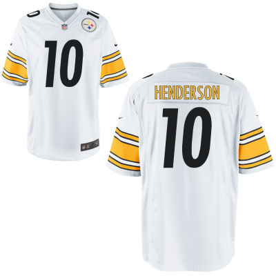 Men's Pittsburgh Steelers #10 Quadree Henderson White Road Stitched NFL Nike Game Jersey