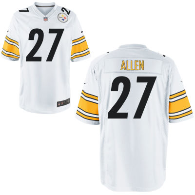 Men's Pittsburgh Steelers #27 Marcus Allen White Road Stitched NFL Nike Game Jersey