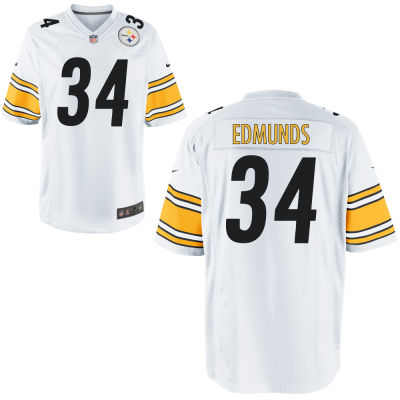 Men's Pittsburgh Steelers #34 Terrell Edmunds White Road Stitched NFL Nike Game Jersey