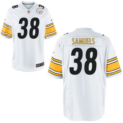 Men's Pittsburgh Steelers #38 Jaylen Samuels White Road Stitched NFL Nike Game Jersey