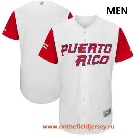 Men's Puerto Rico Baseball Majestic White 2017 World Baseball Classic Custom Team Jersey