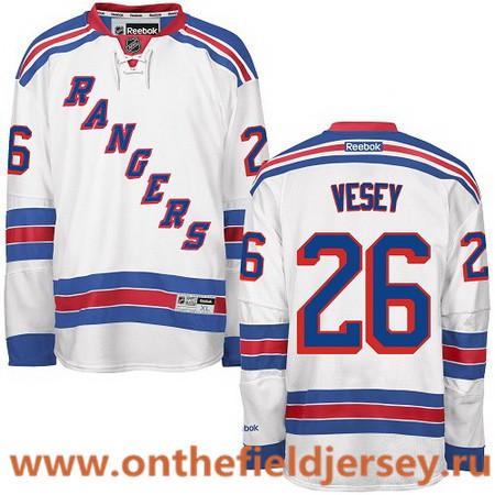 Men's New York Rangers #26 Jimmy Vesey White Away Stitched NHL Reebok Hockey Jersey