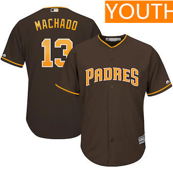 Youth San Diego Padres #13 Manny Machado Majestic Brown Cool Base Player Jersey