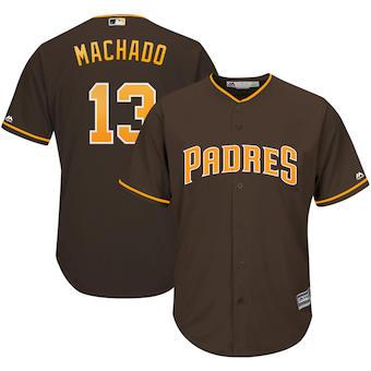 Men's San Diego Padres #13 Manny Machado Majestic Brown Official Cool Base Player Jersey
