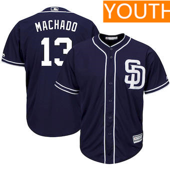 Youth San Diego Padres #13 Manny Machado Majestic Navy Blue Cool Base Player Jersey