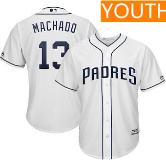 Youth San Diego Padres #13 Manny Machado Majestic White Home Cool Base Player Jersey