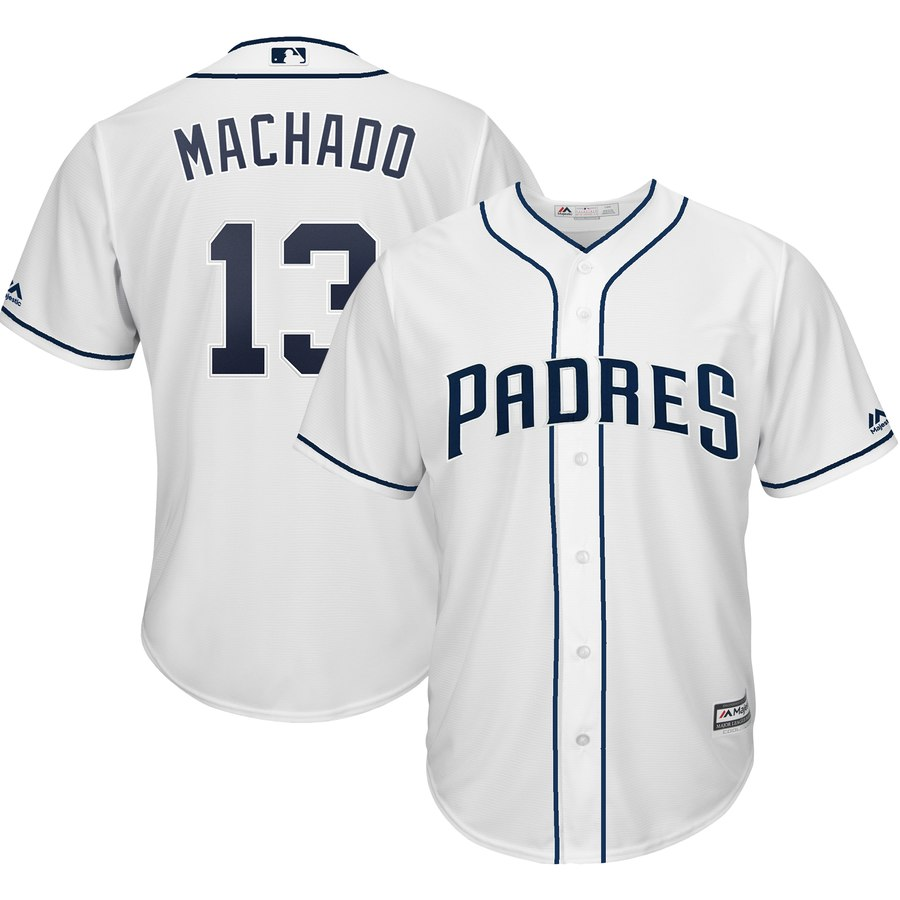 Men's San Diego Padres #13 Manny Machado Majestic White Official Cool Base Player Jersey