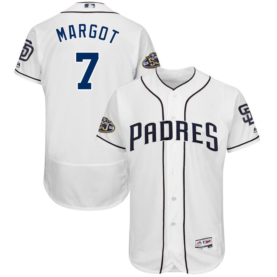 Men's San Diego Padres #7 Manuel Margot Majestic White 50th Anniversary Home Flex Base Player Jersey