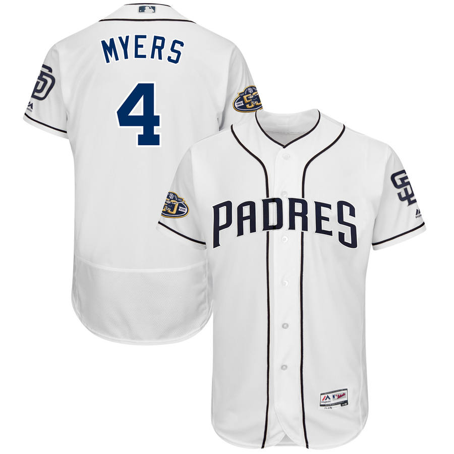 Men's San Diego Padres #4 Wil Meyers Majestic White 50th Anniversary Home Flex Base Player Jersey