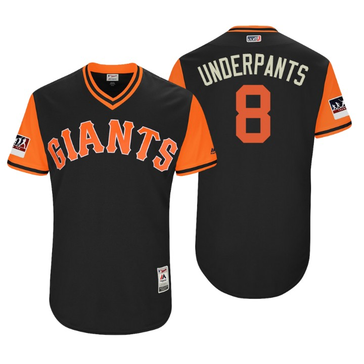 Men's San Francisco Giants Authentic Hunter Pence #8 Black 2018 LLWS Players Weekend Underpants Jersey