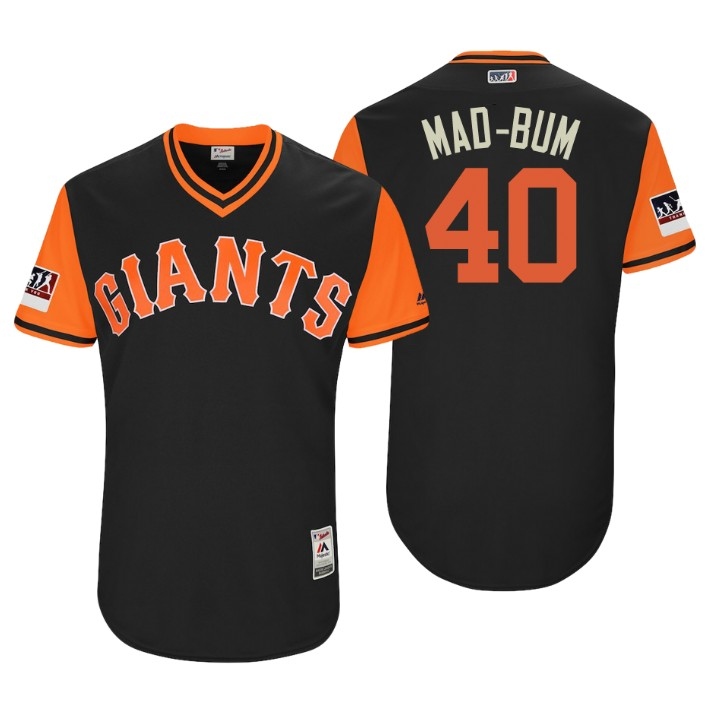Men's San Francisco Giants Authentic Madison Bumgarner #40 Black 2018 LLWS Players Weekend Mad-Bum Jersey