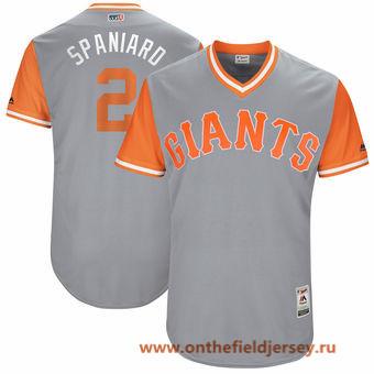 Men's San Francisco Giants Denard Span -Spaniard- Majestic Gray 2017 Little League World Series Players Weekend Stitched Nickname Jersey