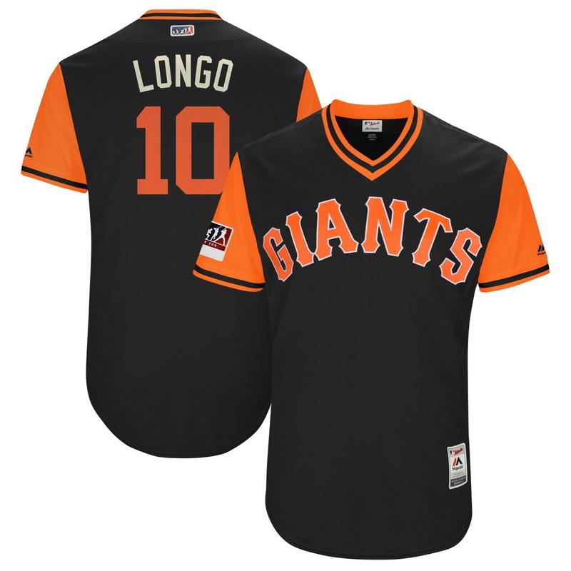 Men's San Francisco Giants Evan Longoria Longo Majestic Black-Orange 2018 Players' Weekend Authentic Jersey