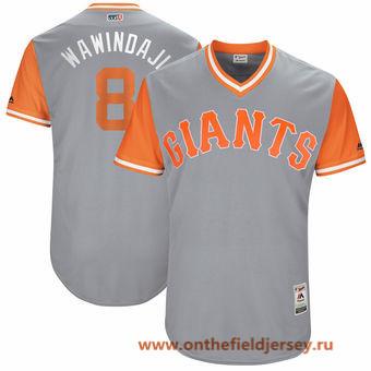 Men's San Francisco Giants Hunter Pence -Wawindaji- Majestic Gray 2017 Little League World Series Players Weekend Stitched Nickname Jersey