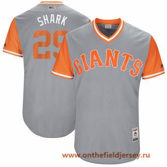 Men's San Francisco Giants Jeff Samardzija -Shark- Majestic Gray 2017 Little League World Series Players Weekend Stitched Nickname Jersey