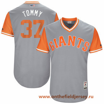 Men's San Francisco Giants Kelby Tomlinson -Tommy- Majestic Gray 2017 Little League World Series Players Weekend Stitched Nickname Jersey