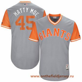 Men's San Francisco Giants Matt Moore -Matty Moe- Majestic Gray 2017 Little League World Series Players Weekend Stitched Nickname Jersey