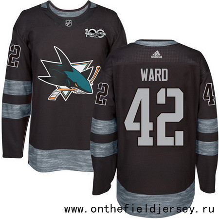 Men's San Jose Sharks #42 Joel Ward Black 100th Anniversary Stitched NHL 2017 adidas Hockey Jersey