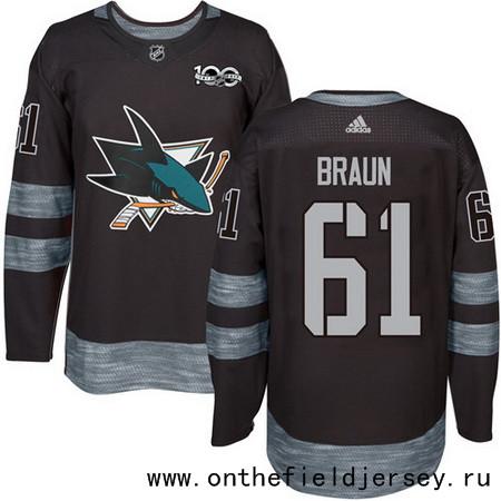 Men's San Jose Sharks #61 Justin Braun Black 100th Anniversary Stitched NHL 2017 adidas Hockey Jersey