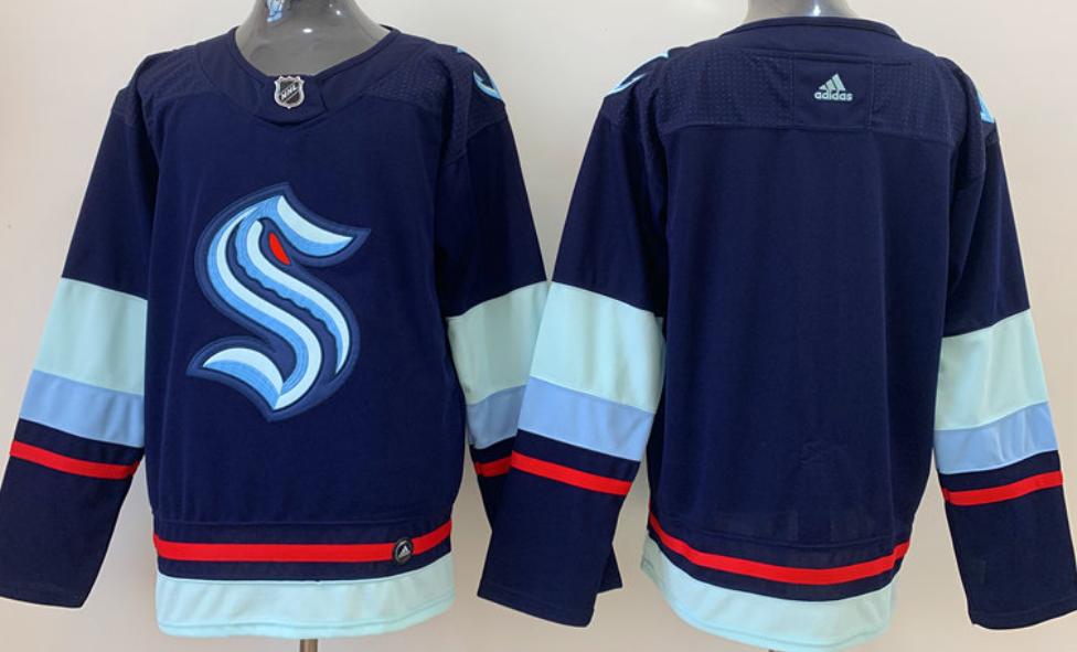 Men's Seattle Kraken Blank Navy Blue Stitched Adidas NHL Jersey
