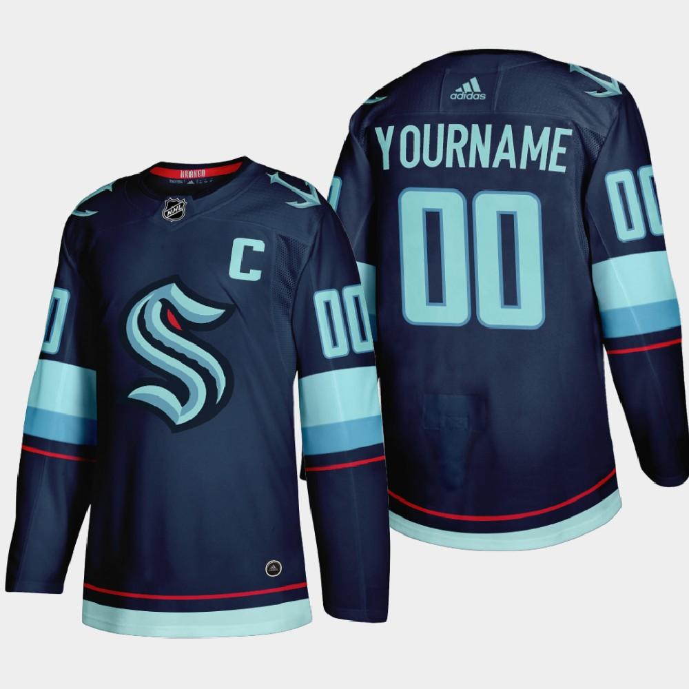 Men's Seattle Kraken Custom Adidas 2021-22 Navy Home Stitched NHL Jersey