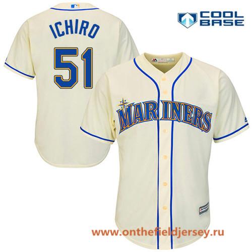 Men's Seattle Mariners #51 Ichiro Suzuki Cream Alternate Stitched MLB Majestic Cool Base Jersey